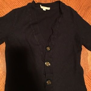 Tory Burch Merino Wool Navy Cardigan